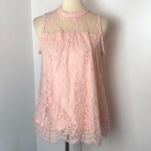 Hint of Mint Sleeveless Blush Pink Blouse L